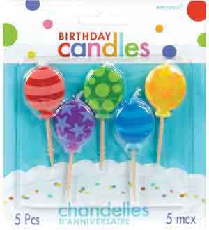 Bday Tooth Candle - Balloons 5ct