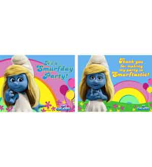 Smurfs 2 Invitation and Thank You Note