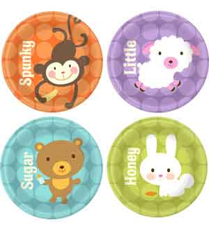 Baby Animal Dots Plate (S) 8 Ct ~ 1PL3613