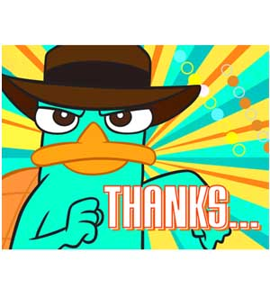 Pheneas and Ferb Thank You 8ct