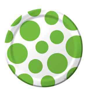 Fresh Lime Chevron Dots 7in Plate (L)