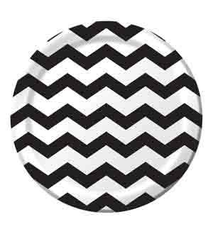 Black Chevron Dots Plate (L)