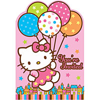 Hello Kitty Balloon Dream Invite 8ct
