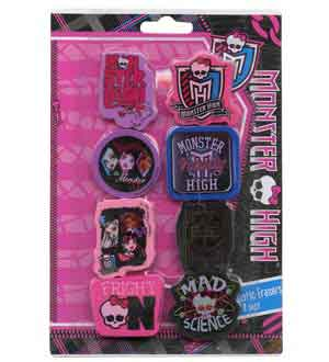 Monster High Shaped Erasers 8 Pk