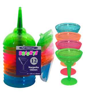 Neon Margarita Glass 12oz Asst 12ct