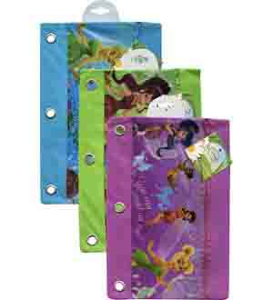 Disney Fairies 3 Ring Pencil Pouch 3 Ass